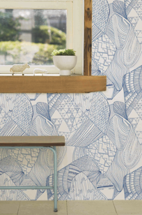 Topo Azul, handmade designed wallpaper on Designer Page