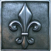 Metal Tile Backsplash Inserts Grapes And Fleur De Lis On Designer - Decorative 4x4 metal tiles