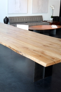 Reclaimed Wood Slab Conference Table On Designer Pages - Wood slab conference table