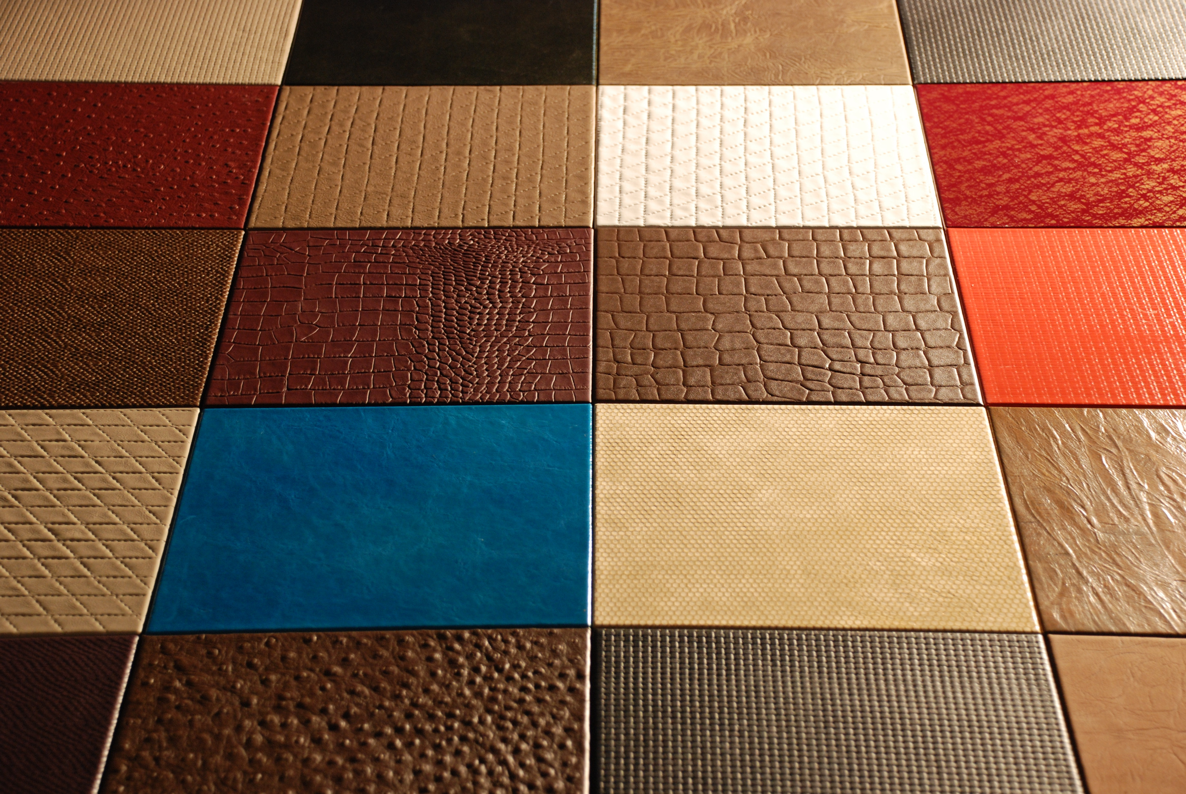 Luxury Italian leather tiles, on Designer Pages