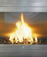Stainless steel linear ventless fireplace with angled interior medium cropped
