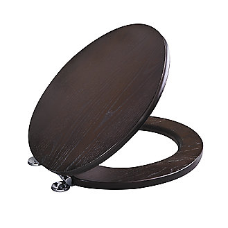 barbara barry java or white wood toilet seat round with brushed nickel trim