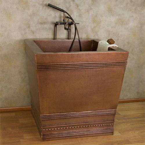 "35"" benton square copper japanese style soaking air bath tub, on"