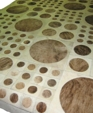 Cream brown circles cowhide patchwork rug medium cropped