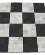 Black white checkered 5x5 cowhide patchwork rug medium cropped