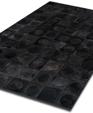 Black circles cowhide patchwork rug medium cropped