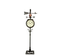 153008 Standing Clock And Clock With Temperature And Humidity Gauges Includes Blue LED Light And Weather Vane W GA958