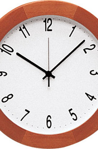 "Model 341 11-3/4"" Diameter Clock with Light Cherry Bezel on Designer Page"