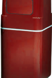 """Model 1083SX 40""""h Fiberglass Trash Receptacle with Tray Storage on Designer Page"""