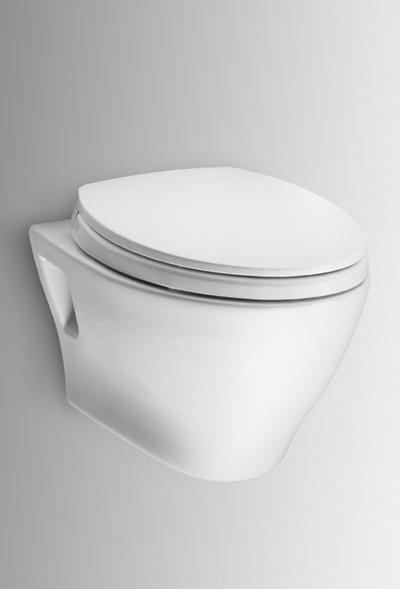Ct418fg     aquia  wall   hung dual   flush toilet  1 6gpf   0 9gpf with sanagloss