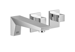 Supernova   wall mounted three hole lavatory mixer with individual flanges   36705730 0