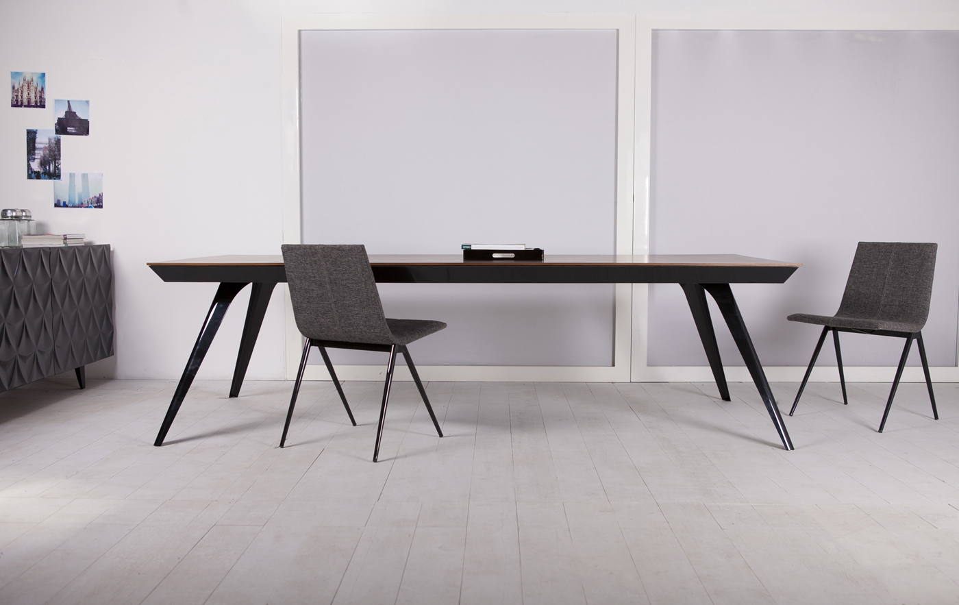 Milton 102in Dining Table Black Paint Teak On Designer Pages