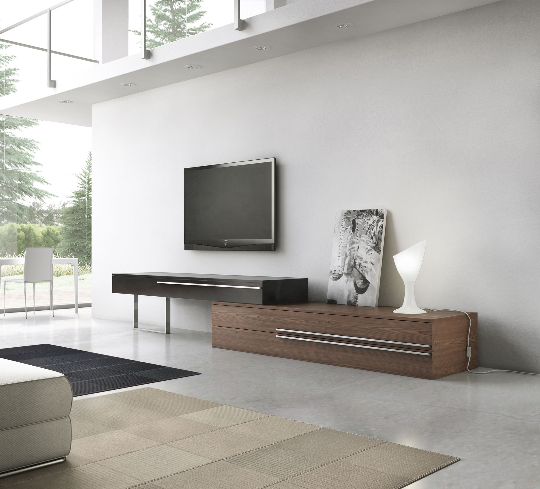 Gramercy Media Console Walnut Black Lacquer On Designer Pages