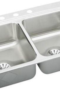 Gourmet (Lustertone) Stainless Steel Double Bowl Top Mount Sink Kit on Designer Page