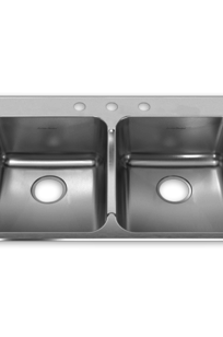 Prevoir 18 Gauge Stainless Steel Drop-In 33-3/8 Inch by 22 Inch 2-Bowl Kitchen Sink on Designer Page