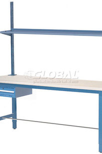 """96""""W x 30""""D Production Workbench with Drawer, Upright & Shelf, ESD Laminate Square Edge- Blue on Designer Page"""