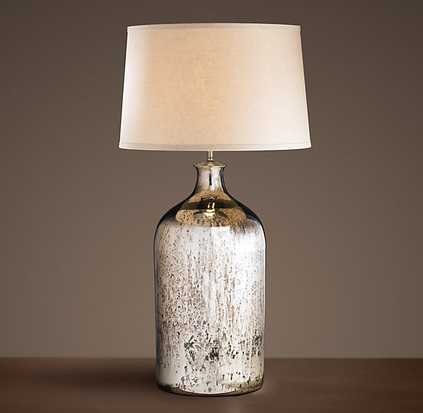 19th Century Vintage Mercury Glass Tall Table Lamp On Designer Pages