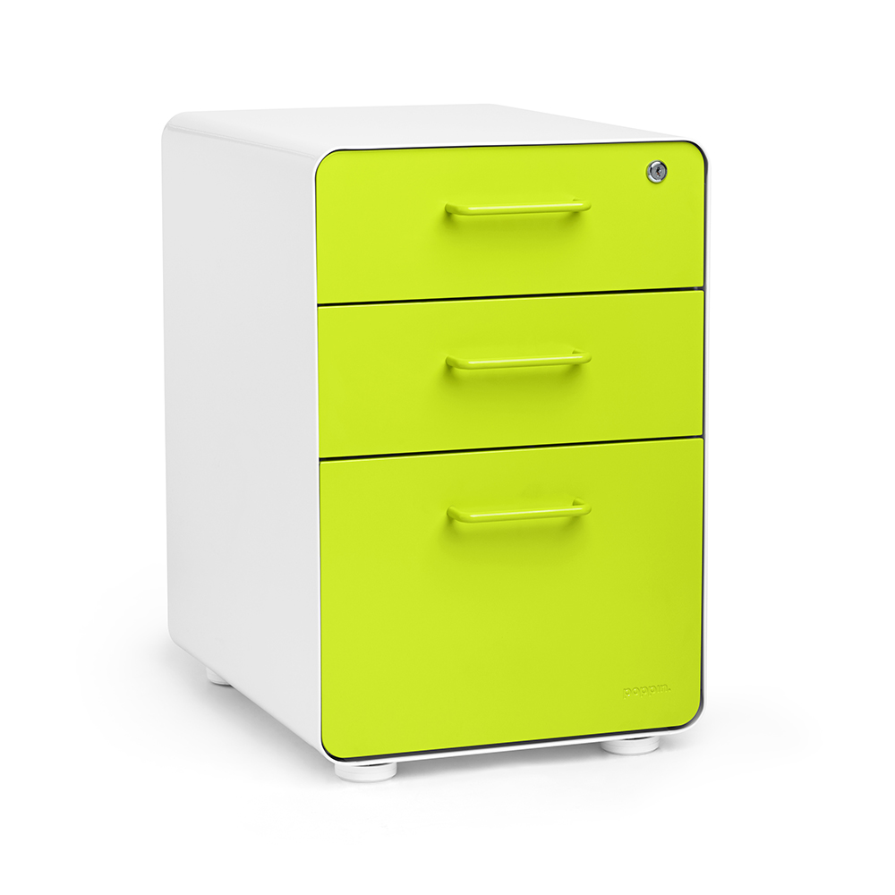 Green File Cabinet White Lime Green Stow 3 Drawer File Cabinet Fully Loaded On