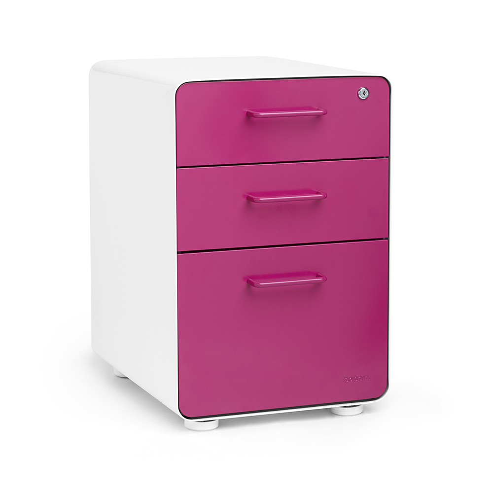 White + Pink Stow 3 Drawer File Cabinet