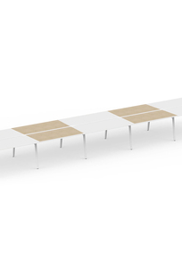 "Series A Double Desk for 10, White + Light Oak, 57"" on Designer Page"