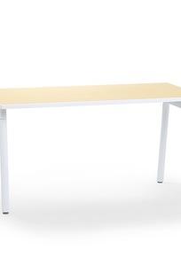 "Series A Single Desk, Light Oak, 57"", White Legs on Designer Page"