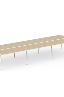 "Series A Double Desk for 6, Light Oak, 57"", White Legs on Designer Page"
