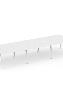 """Series A Double Desk for 6, White, 47"""", White Legs on Designer Page"""