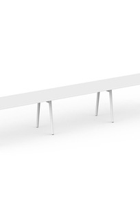 "Series A Single Desk for 3, White, 57"", White Legs on Designer Page"