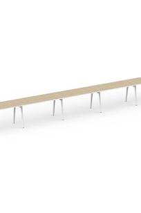 """Series A Single Desk for 5, Light Oak, 47"""", White Legs on Designer Page"""