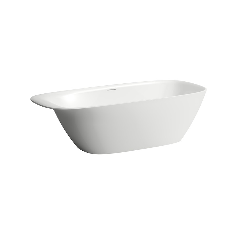 230302 bathtub  freestanding  made of solid surface material sentec  with integrated overflow  head rest and feet 0