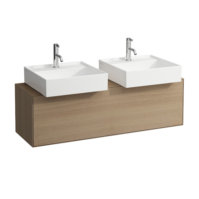 409034 vanity unit  with one drawer  with cut out left and right  with space saving siphon 0