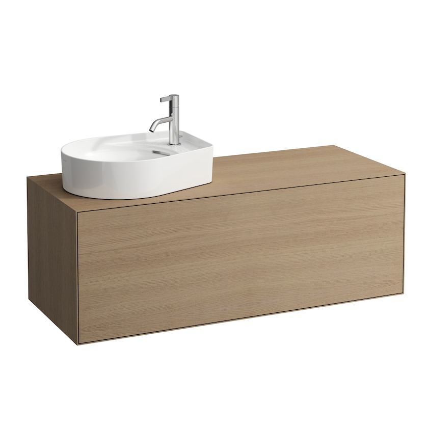 409051 vanity unit  with one drawer  with cut out left  with space saving siphon 0