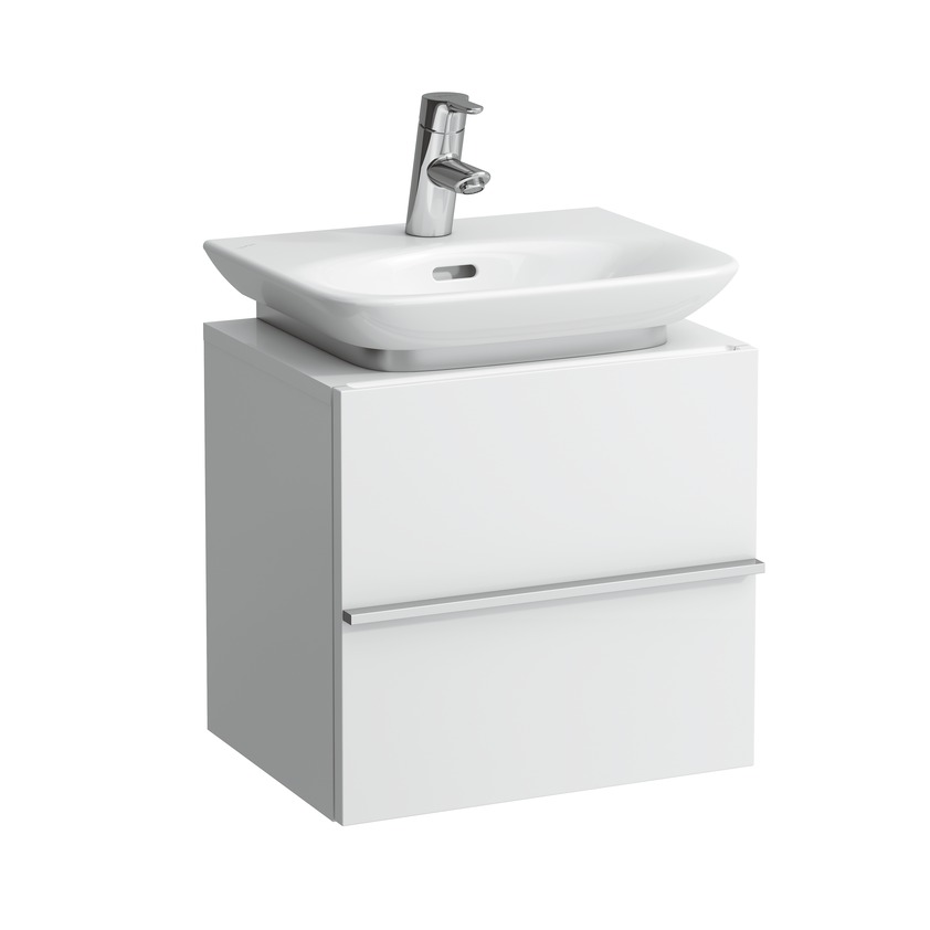 401101 vanity unit with 1 door left  1 glass shelf and space saving siphon for washbasin 815701 0
