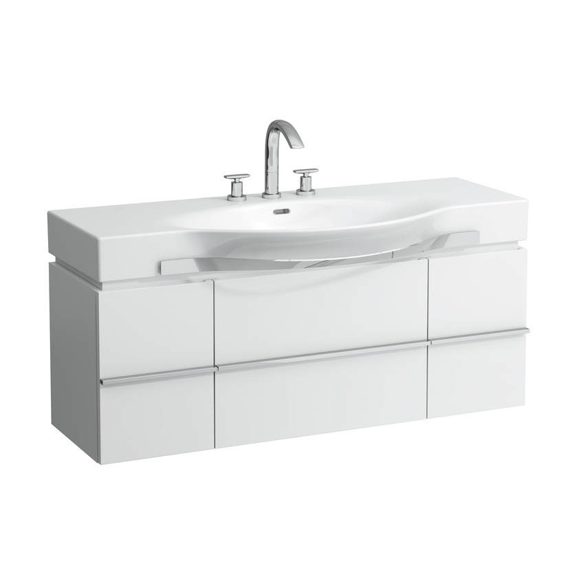 401301 vanity unit with 1 drawer and 2 doors  2 glass shelves and space saving siphon for washbasin 811704  812704 0