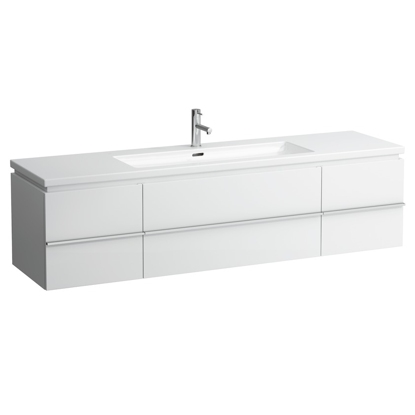 401361 vanity unit with 1 drawer and 2 doors  2 glass shelves and space saving siphon for washbasin 816438 0