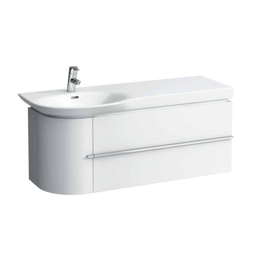 401622 vanity unit  with space saving siphon and soft close mechanism  for washbasin asymmetric right 816706  with two drawers 0