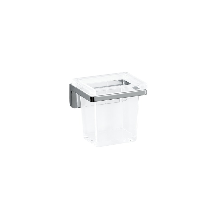 384681 glass holder with crystal glass  wall mounted  chrome surface 0