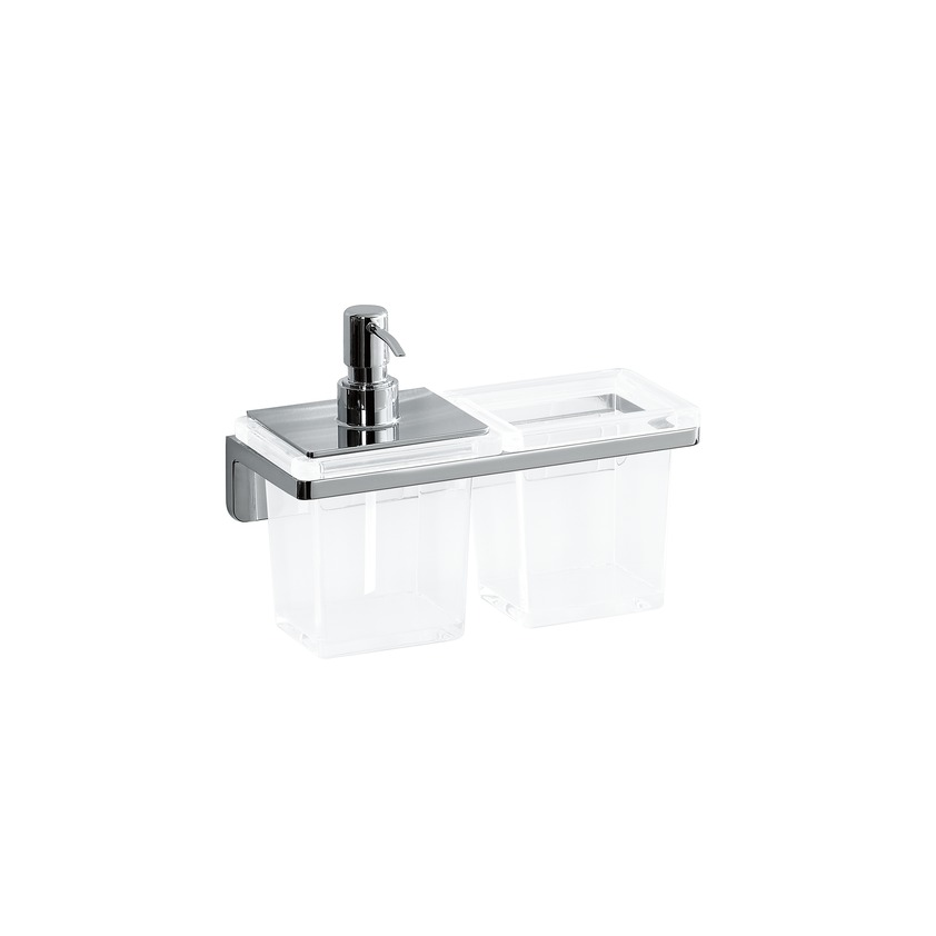 384685 combo crystal soap dispenser and glass  wall mounted  chrome surface 0