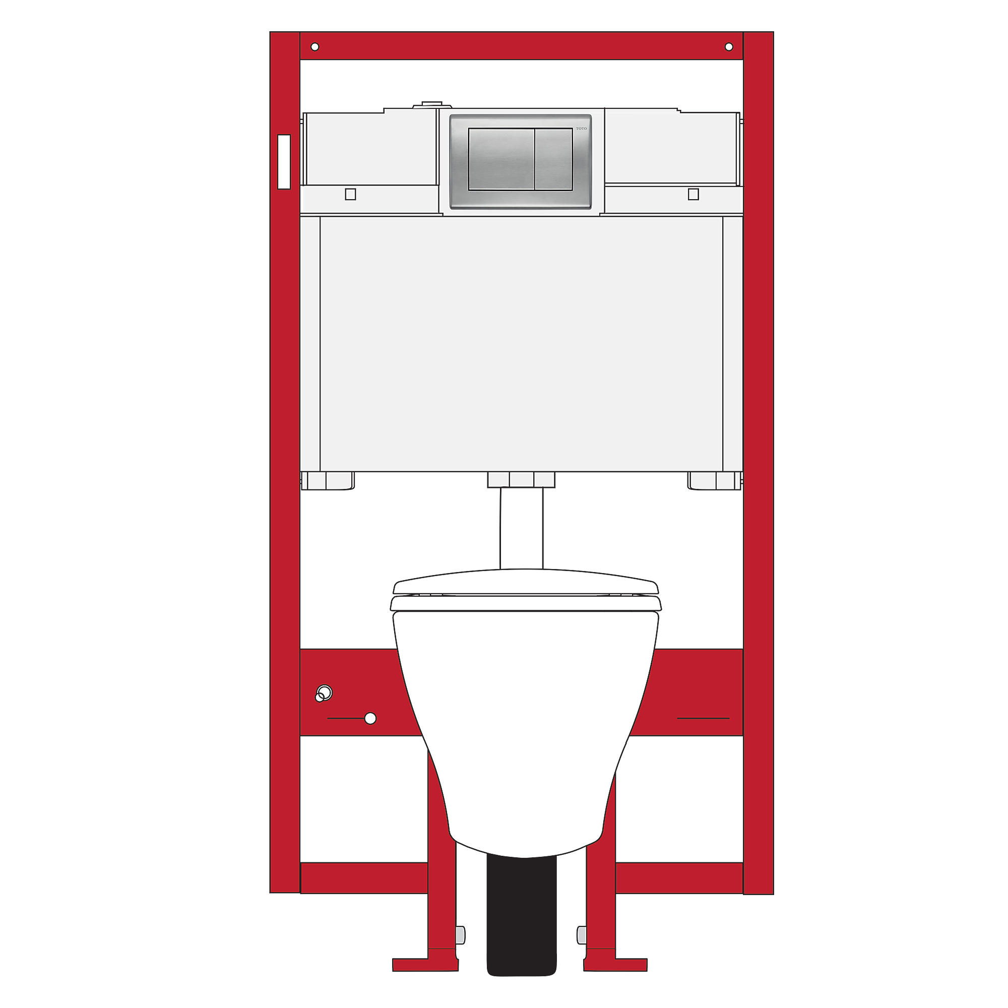 Cwt418mfg 1 01 aquia  wall hung toilet   duofit  in wall tank system  1 6 gpf   0 9 gpf  elongated bowl 0