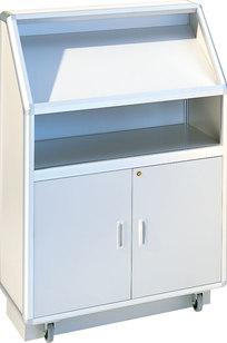 "Model 7835 48""h Mobile Floor Lectern with Reading Shelf & Light on Designer Page"