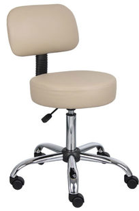 Boss Be Well Medical Spa Professional Adjustable Drafting Stool with Back and Removable Foot Rest, Beige - B245-BG on Designer Page