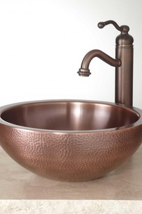 """14"""" Casalina Double Wall Hammered Copper Vessel on Designer Page"""