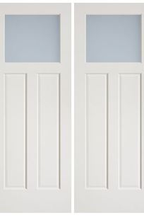 Hollow Core; Sliding Barn Double Doors - 3 Panel Plank MDF, Interior Paint Grade with Glass Insert on Designer Page