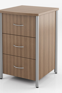 BEDSIDE CABINETS & CASEGOODS 3 Drawer Cabinet with Aluminum Trim ATCABNR-A on Designer Page