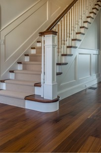Custom Walnut Rift & Quartersawn Floor with Matching Stair Treads - Chatham, MA on Designer Page
