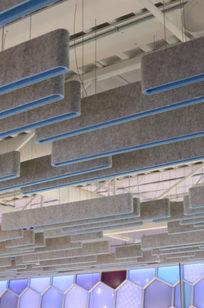 Slab acoustic ceiling baffle on Designer Page