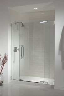"K-705711-L - Pinstripe® heavy glass pivot shower door, 57"" - 60"" on Designer Page"